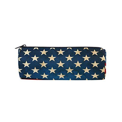 RXYY Estuche para lápices de 4 de julio, diseño de la bandera estadounidense con cremallera, estuche de lona, caja de almacenamiento para cosméticos, bolsa de papelería para estudiantes, escuela, oficina