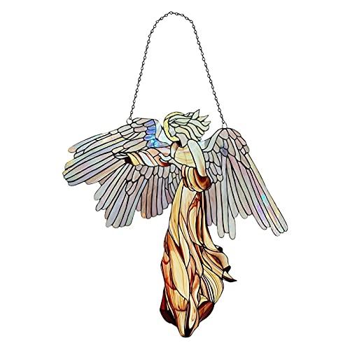 crazerop Ángel colorido atrapasueños, decoración para ventanas, de acrílico, decorativo, para colgar en la pared, para el hogar, el jardín, la pared o la ventana