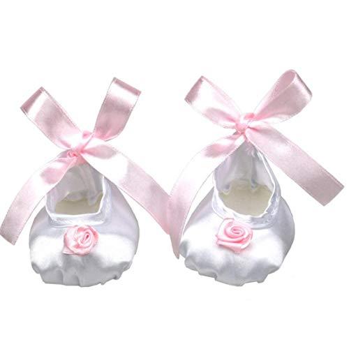 Puppenschuhe Schöne Silk Puppe Schuhe Mit Rosa Band-Blume Für 18 Zoll Entzückende Mädchen Puppe (weiß) 1 Paar