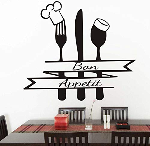 CQAZX Lustige Kochmütze Löffel Folk Löffel Wandaufkleber Küche Wandtattoo Französisch Küche Wandkunst Dekoration Zubehör 65 * 58 cm