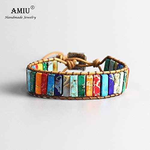 LLXXYY Stein Armband,Handgefertigt 7 Chakra Natürliche Tube Perlen Stein Armband Leder Wrap Pierre Armreif Für Frauen Männer Schmuck Armband