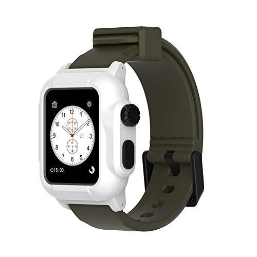 GOUTUIZI Correa de Silicona Transpirable de Repuesto para Apple Watch, 42/44 mm Serie 4/5 Funda Impermeable, IP68 a Prueba de Golpes y Resistente a los Golpes,H,42/44MM