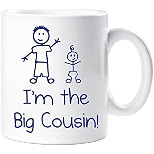 I'm The Big Cousin Mug Boys Stick Person People Cup New Baby
