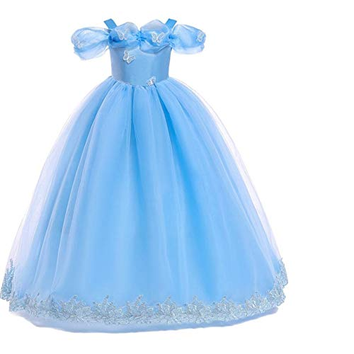 LOBTY Cinderella Kostüm Mädchen Prinzessin Erwachsene Kleid Schmetterling Karneval Verkleidung Party Cosplay Faschingskostüm Festkleid Weinachten Halloween Fest Kleid