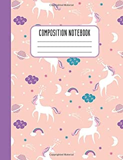 Composition Notebook: Wide Ruled Composition Notebook Pink Purple Unicorn Design for Girls Kids Women Blank Lined Journal