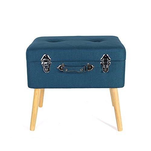 THE HOME DECO FACTORY HD3701 Coffre de Rangement Valise Bois/Polyester Bleu 50,50 x 36 x 45 cm
