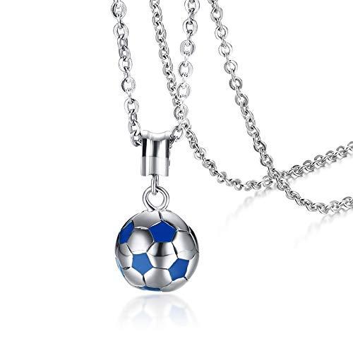 DADATU Halsketten für Herren Men Es Stainless Steel White Blue Football Hippie Pendant Necklace for Hip Hop Men Sports Soccer Ball Jewelry 20 Zoll