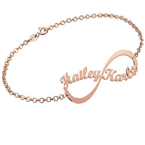 JoelleJewelryDesign Namensarmband Unendlichkeits Wunsch Datum Persönalisierte Namen Armband 750er Rosé Vergoldet Silber