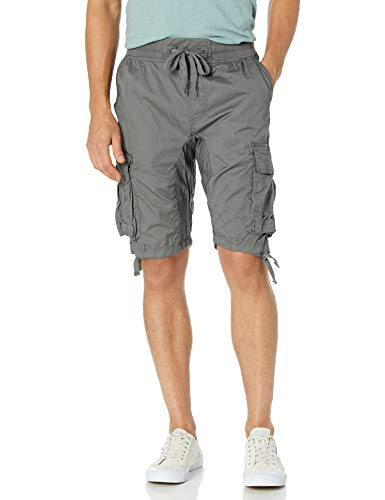 Southpole Men's Jogger Shorts with Cargo Pockets in Solid and Camo Colors, Dark Grey(New), Large