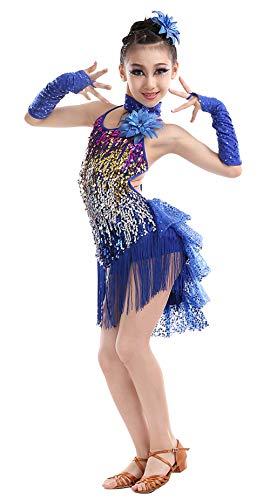 Happy Cherry Mädchen Kleid Latin Tanzkleid Pailletten Gesellschaftstanz Kleider Set Kinder Dancewear-Dunkelblau-140cm