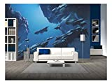 wall26 - Fantasy Island Floating in The Sky,Illustration Painting - Removable Wall Mural | Self-Adhesive Large Wallpaper - 66x96 inches