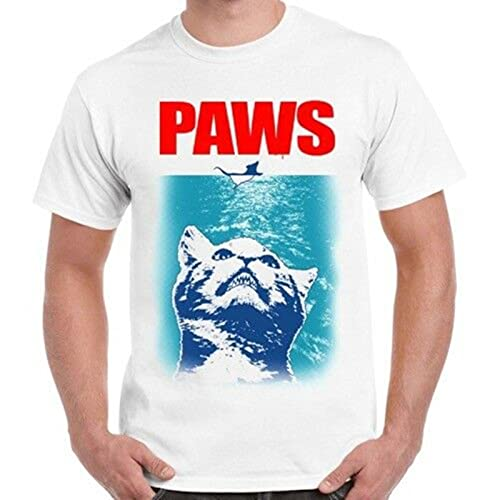 Paws Jaws Parody Cats Kittens Funny Gift Cool Vintage Retro T Shirt