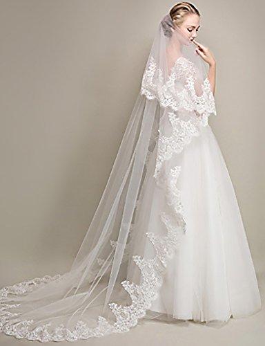 Zoestar Velo da sposa in pizzo a 2 ripiani bianco velo da sposa cappella accessori da sposa velo con pettine per donne