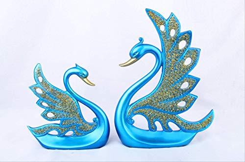 YASE-king Personality Figurines Ornaments Figurines Decor Resin Crafts Modern MinimalistCouple Swan Home Decorations Tv Cabinet Wine Cabinet Creative Furnishings Gift