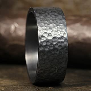 8mm Wedding Band Oxidized Blackened 925 Sterling Silver Hand Forged Hammered Mens Women Unisex Flat Pipe Cut Thick Handmade Black Ring - FREE Engraving