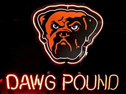 "Queen Sense 14""x10"" Cleveland Brown Dawg Pound Man Cave Neon Sign Light Beer Bar Pub Real Glass Lamp DE63"