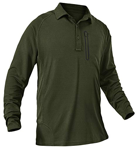 TBMPOY Men's Hiking Long Sleeve Military Tactical Polo Shirt Quick Dry Outdoor Fishing Collared Shirt with Zip Army Green XL