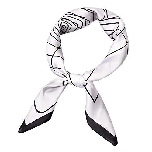HIDOUYAL 70x70cm Bandana Patchwork Schal Halstuch Kopftuch Tasche Dekoration Scarf mit Stern Muster (Linie-Weiss)