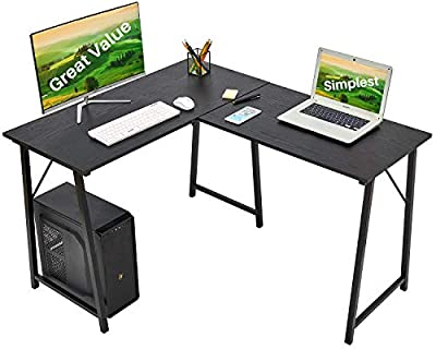 "L-Shaped Computer Desk 50.4"" Home Office Writing Workstation Large Modern Computer Gaming Table PC Standing Desk Space-Saving Corner Desk for Small Space Utility Tables"