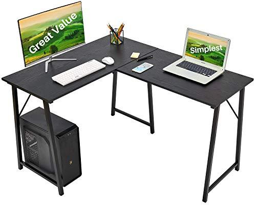 L Shaped Desk Gaming Computer Desk 50.4'' Home Office Corner Desk ps5 Kids Writing Desk for Small Space Modern Students Study PC Laptop Table Large Wood Workstation Space-Saving for Bedroom, Black