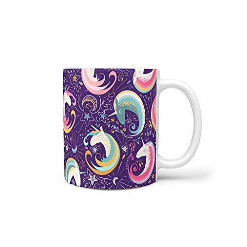 O2ECH-8 11 OZ Unicorn Wasser Kaffee Becher mit Griff Porzellan Unique Becher - Unicorn Klassenkamerad Geschenke, Anzug für Familie verwenden White 330ml