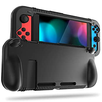 FINTIE Silicone Case Compatible with Nintendo Switch - Soft [Anti-Slip] [Shock Proof] Protective Cover with Ergonomic Grip Design Drop Protection Grip Case  Black