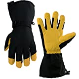 OZERO Ski Gloves, -40°F Cold Proof Winter Snow Warm Glove - 150g 3M Thinsulate Insulated Cotton & 5-inch Long Sleeve - Waterproof Nylon & Cowhide Leather Palm & Good Grip for Men & Women - Yellow/L