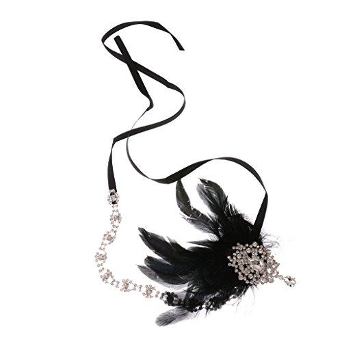 sharprepublic Costume De Mariée Bandeau à Plumes Flapper Fantaisie Hairband Headpiece Noir