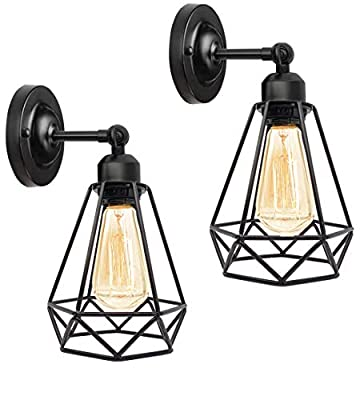 Wire Cage Wall Sconce, Industrial Wall Sconce 2 Pack, Vintage Wire Cage Wall Lighting Sconce, Industrial Bathroom Vanity Light, Sconces Wall Lighting for Headboard Bedroom Porch Mirror