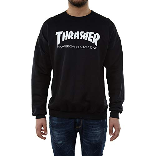 THRASHER Skatemag Crew Sudadera, Unisex Adulto, Black, M