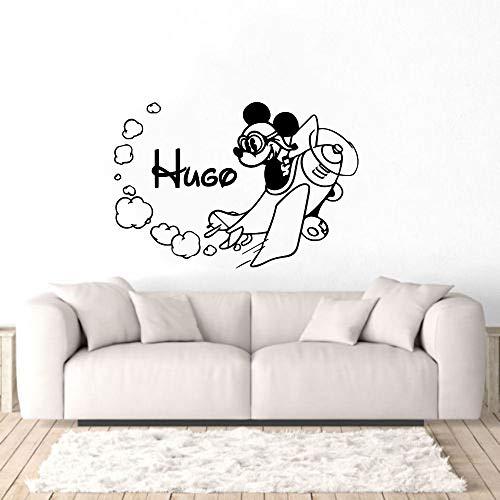 Rfokun Personalisierter Name Maus Test Wandkunst Aufkleber personalisierte Aufkleber Familie Wohnzimmer und Kinderzimmer Dekoration abnehmbar 102x69cm