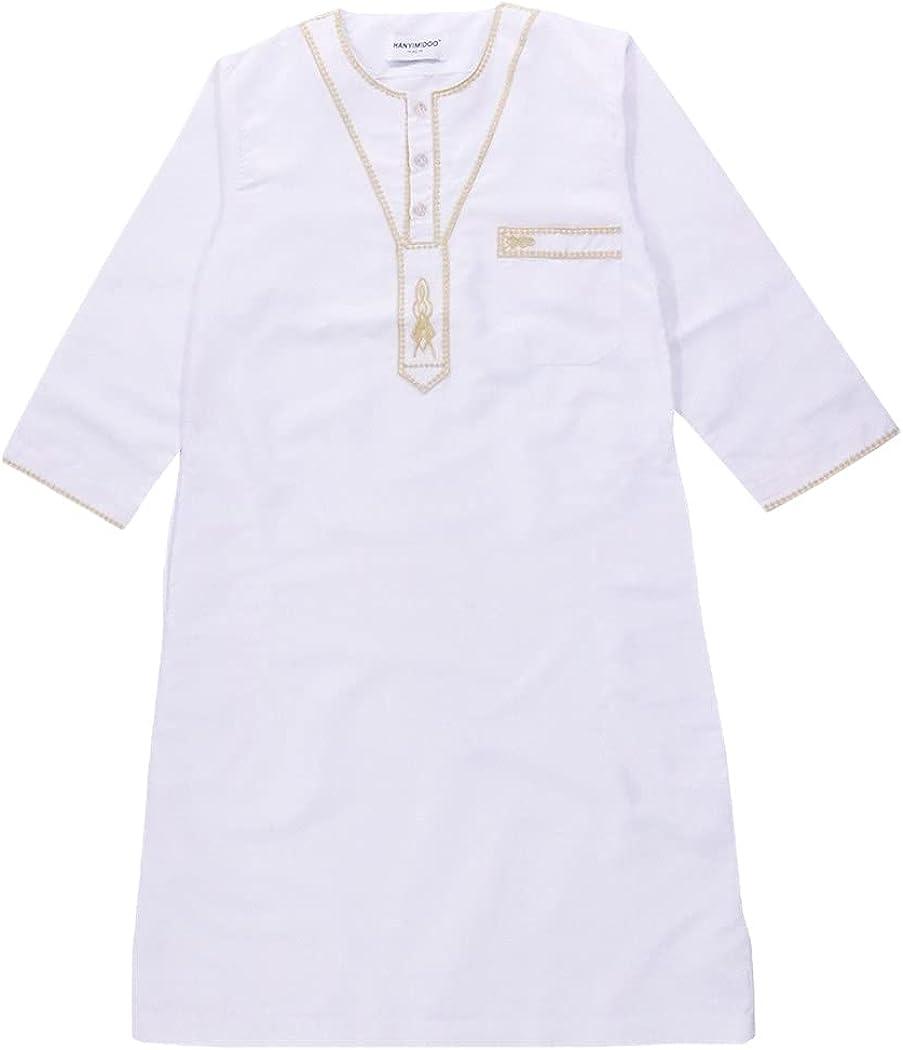 Turkish Muslim Kids Abaya Jubba Thobe Kimono, Dubai Arab Boy Thobe Thawb Caftan, Children Islamic Long Robes Dress