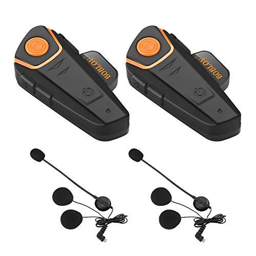 Bobov BT-S2 1000M BT casco de la motocicleta Auricular Bluetooth Intercom Moto Headset Intercom Interphone FM (Pack 2)