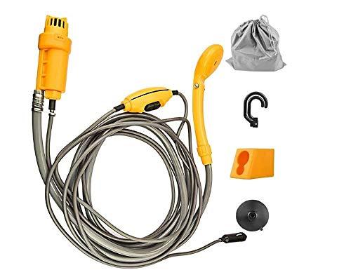 XYFL Tragbare Campingdusche - 12-V-Handdusche Mit 4-Meter- | Verstellbarer Haken, Outdoor Car Wash Camping Dusche Haustier Autoleitungsquelle Und 2-Meter-Wasserleitung