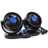 ツインファン 扇風機 12V 車用 回転式 ファン 暑さ対策 省エネ効果 (ブルー×ブラック)