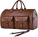 Carry On Garment Bag, Waterproof Mens Garment Bag for Travel Business, Large Leather Duffel Bag with Shoe Compartment -Brown