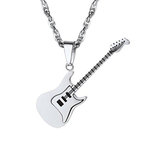 PROSTEEL Acero Inoxidable Collar Guitarra Tono Plata Regalo para Hombre