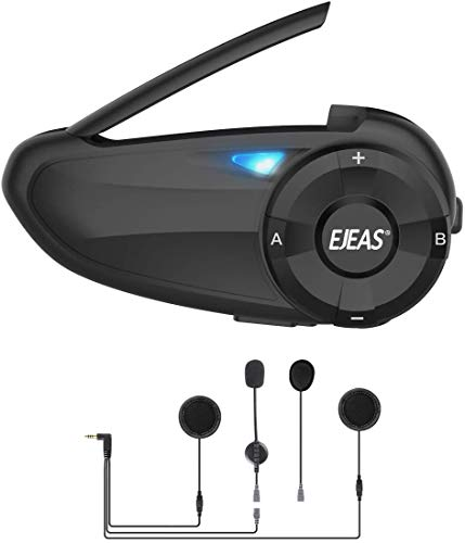 Motorcycle Bluetooth Headset EJEAS Q7 Helmet Intercom Communication System Quickly Pair to 7 Riders Waterproof and Noise Cancellation Interphone with FM for Skiing Hiking