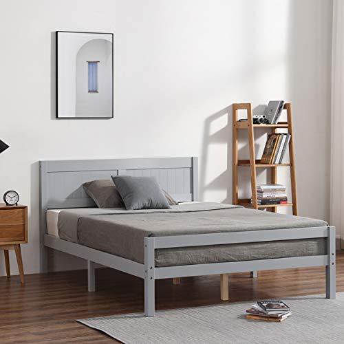 Marco de cama doble de madera, cama de madera de pino macizo de 4 pies con cabecero, muebles de dormitorio para adultos y niños y adolescentes