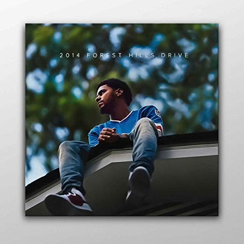 J. Cole 2014 Forest Hills Drive Album Cover Canvas Poster Wall Art Printed Home Decor Modern Print Gift Idea (30cm x 30cm)