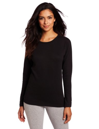 Duofold Women's Mid Weight Wicking Thermal Shirt, Black, X Large