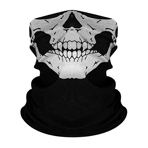 AKUDY Seamless Face Mask Covering Bandanas Women Men for Dust Wind Sun Protection, Skeleton Face Cover for Outdoors, Festivals, Sports