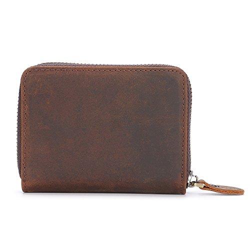 Kattee Unisex Vintage Look Genuine Leather Zipper Wallet Credit Card Holder Purse