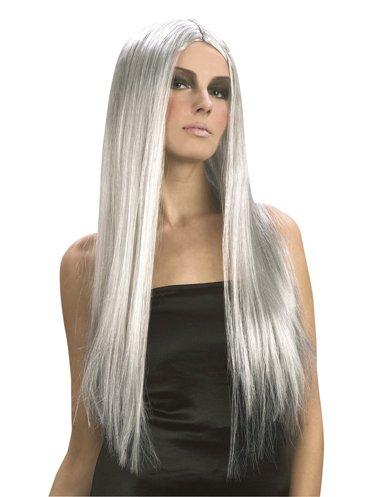 Perruque à cheveux longs Halloween pour femme. Gris sorcière
