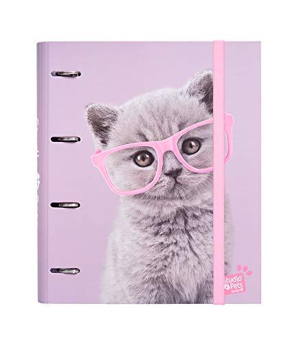 Erik Classeur 4 Anneaux, Raccoglitore ad Anelli A4, 26 x 32 cm, Studio Pets Cats