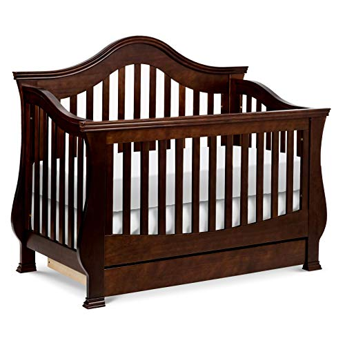 Million Dollar Baby Classic Ashbury 4-in-1 Convertible Crib with Toddler Bed Conversion Kit in Espresso, Greenguard Gold Certified