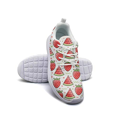 Hobart dfgrwe Watermelon Strawberry Flower Women Flat Bottom Casual Shoes Comfortable Basketball Shoes