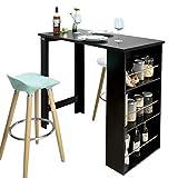 SoBuy FWT17-Sch Table de Bar Table Haute de Cuisine avec Rangement Mange-Debout Comptoir – Noir