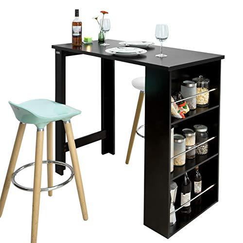 SoBuy FWT17-SCH Mesa de Bar, Mesa de Ordenador,Color Negro,ES (Mesa)
