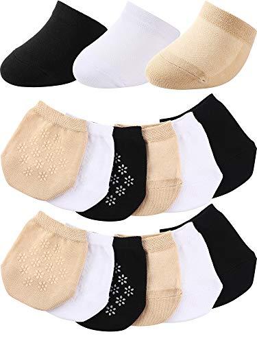 12 Pairs Toe Topper Socks Toe Liner Half Socks Seamless Non-Slip Toe Half Socks (Black, White, Skin Color)